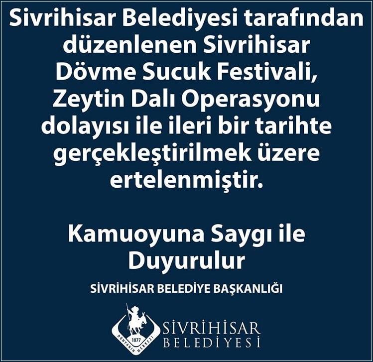 sucuk festivali ertelendi - 2018 Sivrihisar Dövme Sucuk Festivali Ertelendi